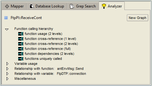 Preconfigured queries in Analyzer tab automate source code analysis